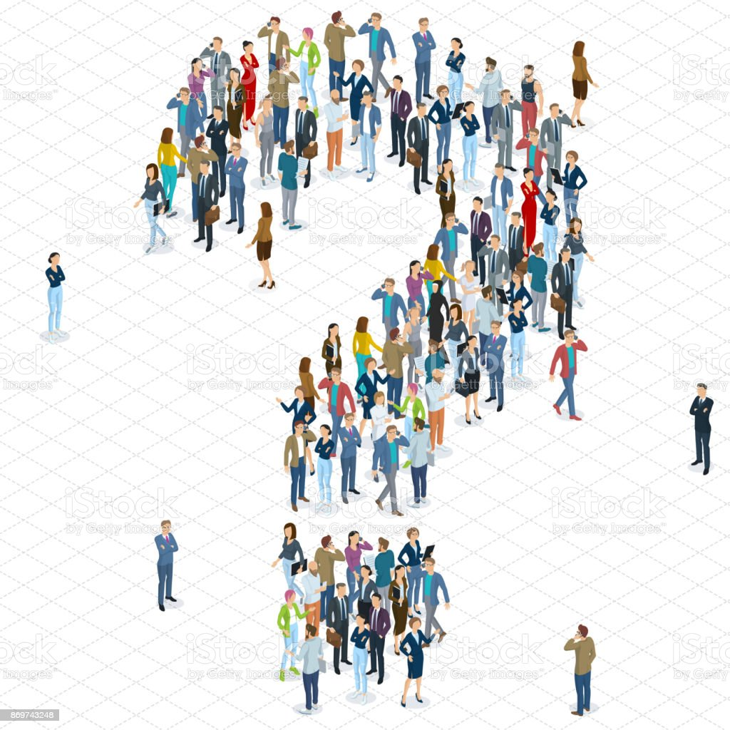 People crowd question mark vector template. vector art illustration