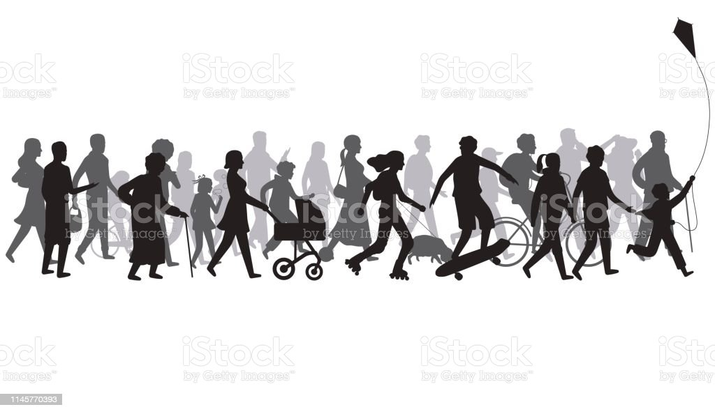 People crowd silhouette. Group of person with shadows walk. Family...