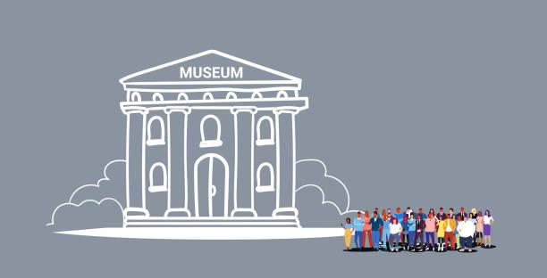 illustrations, cliparts, dessins animés et icônes de gens foule visite musée bâtiment hommes femmes touristes groupe marchant ensemble populaire destination touristique pleine longueur croquis doodle horizontal - museum