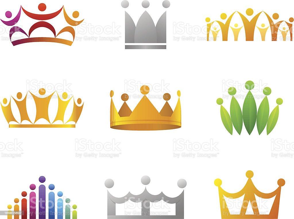 People crown Set royalty-free stock vector art