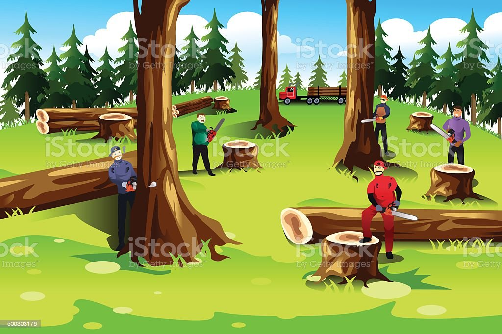 People Cutting Down Trees Stock Illustration - Download ...
