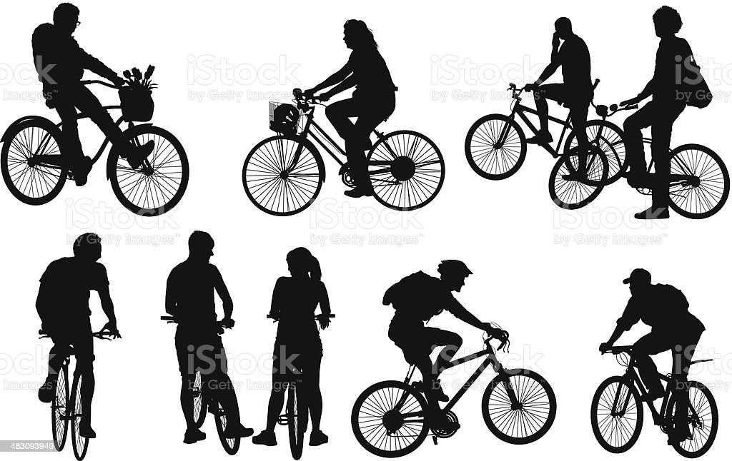 People Cycling Stock Vector Art & More Images of Adult ...