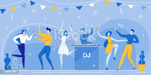Cartoon People Crowd on Dancefloor, DJ in Headphones Mixing Music Nightclub Vector Illustration. Man Woman Dancing, Drink Coctail. Holiday Party Celebration Night. Concert, Club, Disco