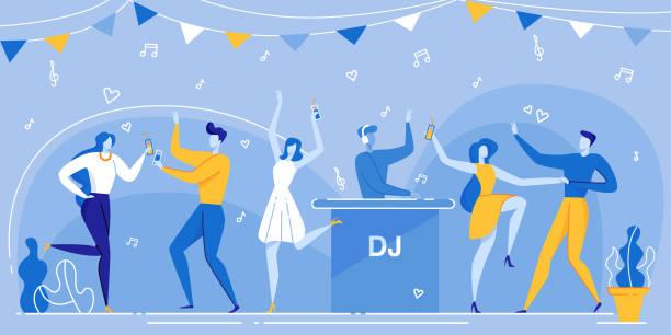 People Dance Dancefloor DJ Mixing Music Nightclub Cartoon People Crowd on Dancefloor, DJ in Headphones Mixing Music Nightclub Vector Illustration. Man Woman Dancing, Drink Coctail. Holiday Party Celebration Night. Concert, Club, Disco party stock illustrations