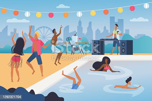 istock People dance in tropical music beach cocktail party 1292321704