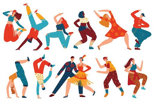 People dance vector illustration set, cartoon flat woman man dancer characters collection with teenagers dancing hip hop, twerk