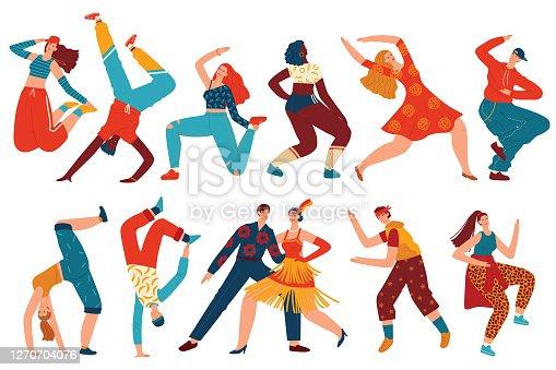 istock People dance vector illustration set, cartoon flat woman man dancer characters collection with teenagers dancing hip hop, twerk 1270704076