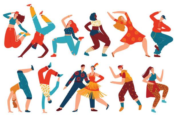 illustrations, cliparts, dessins animés et icônes de ensemble d'illustration vectoriel de danse de personnes, bande dessinée plate femme danseur caractères collection avec des adolescents dansant le hip hop, twerk - twerk