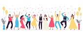 People dancing at wedding. Romance newlywed dance, traditional wedding celebration celebrating with friends and family vector illustration