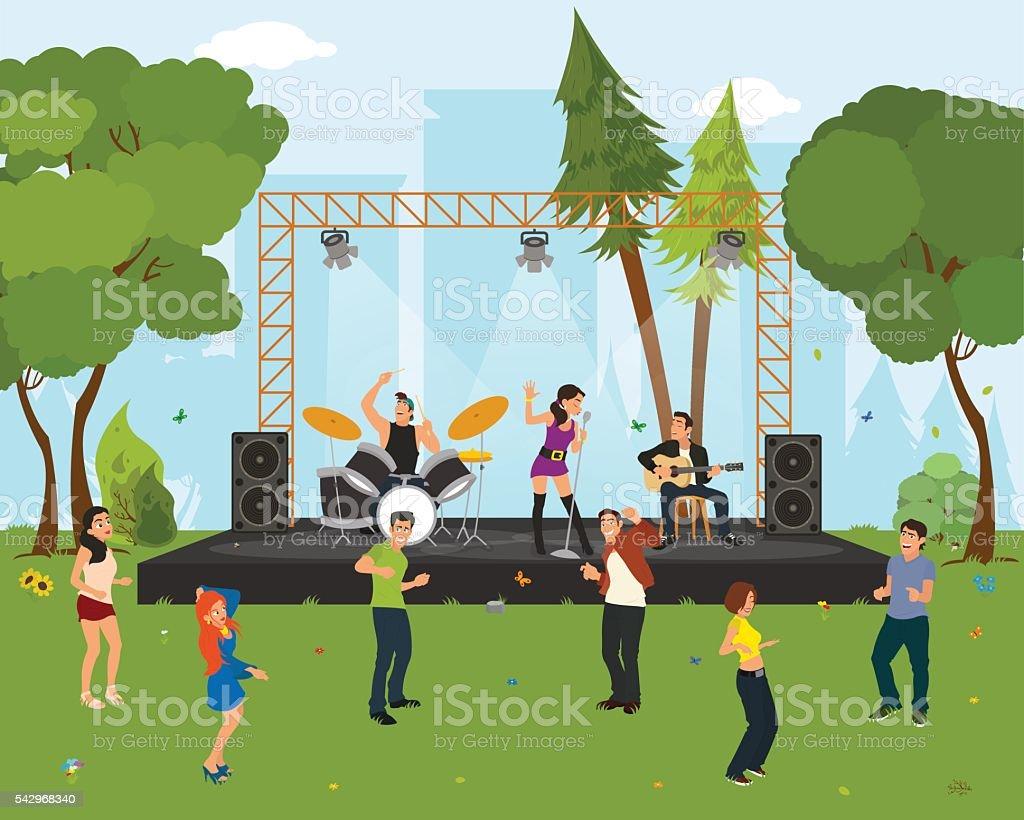 Les gens danser dans la ville de parc au concert. - Illustration vectorielle