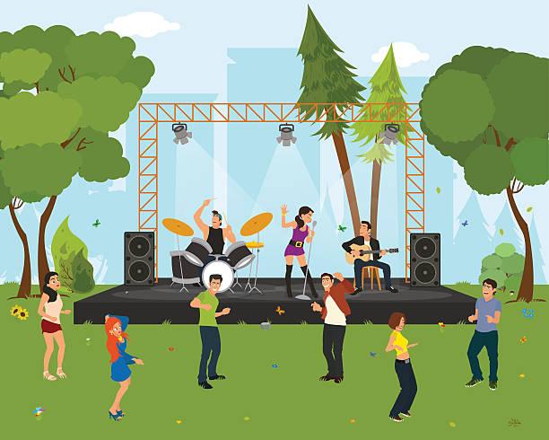 名様までのダンス街のパーク、コンサート。 - ステージのイラスト点のイラスト素材/クリップアート素材/マンガ素材/アイコン素材