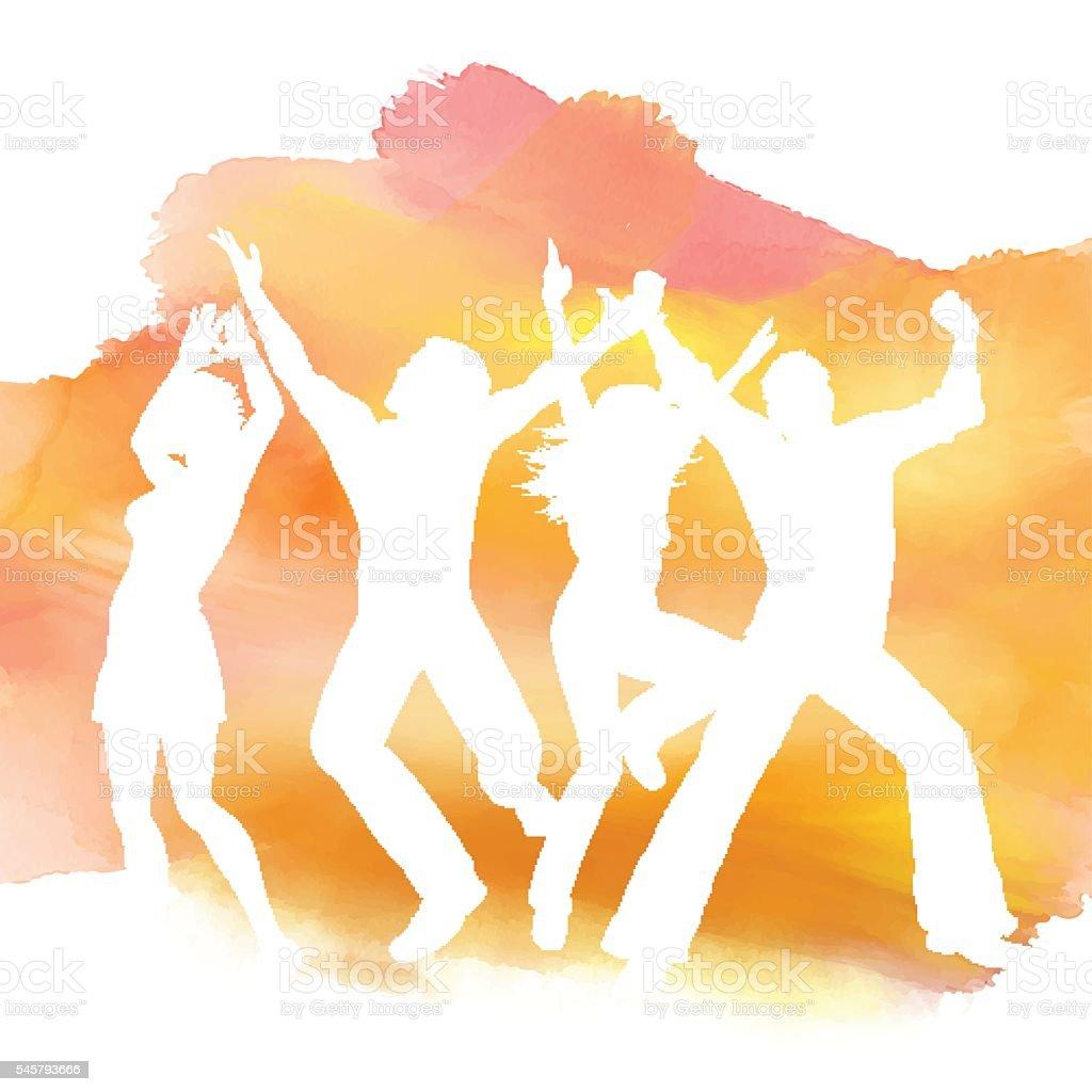Vetores De People Dancing On A Watercolor Background E Mais Imagens De Adulto Istock
