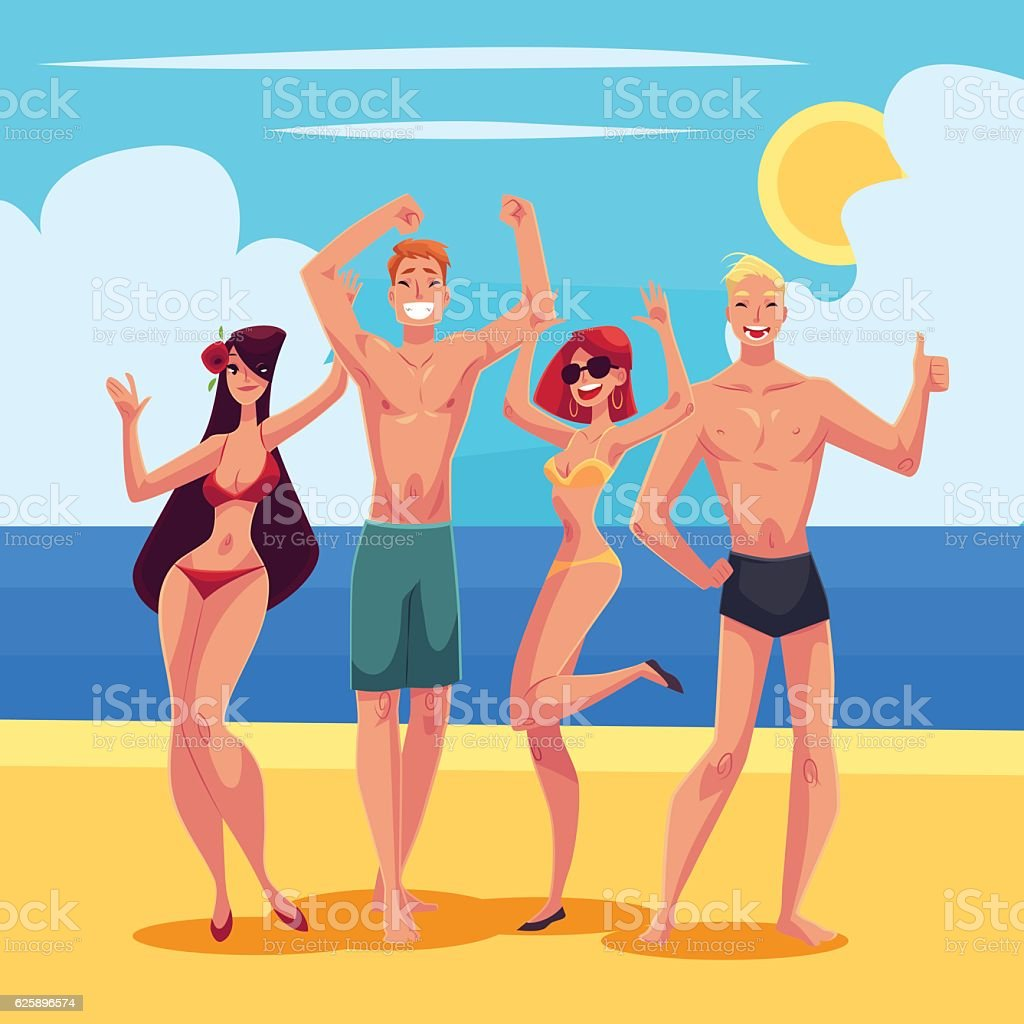 People dancing on the beach in swimming suits and shorts vector art illustration