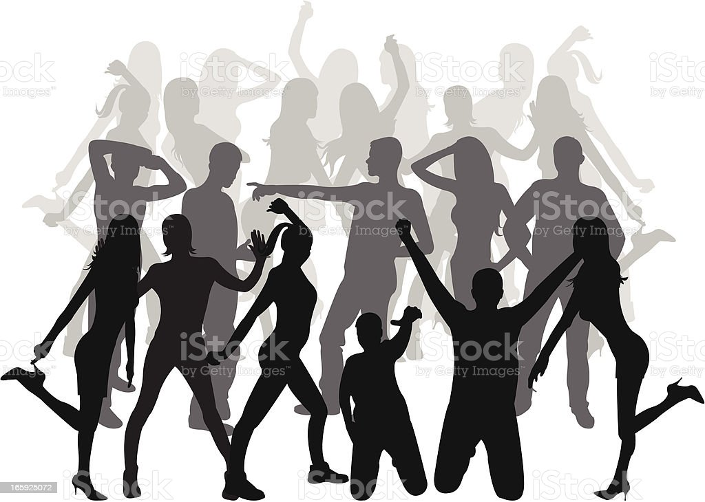 people dancing vector art illustration