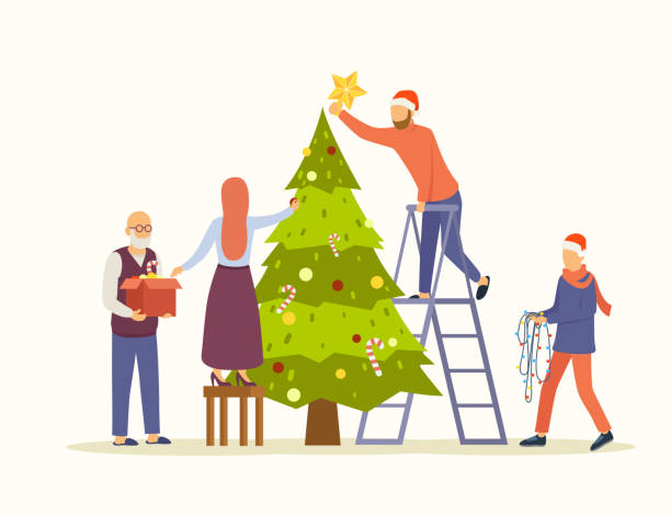 People decorating big Christmas tree vector flat illustration. Family decorates the tree for new year and christmas. Preparation for winter holidays. Eps 10. People decorating big Christmas tree vector flat illustration. Family decorates the tree for new year and christmas. Preparation for winter holidays. Eps 10. christmas family stock illustrations