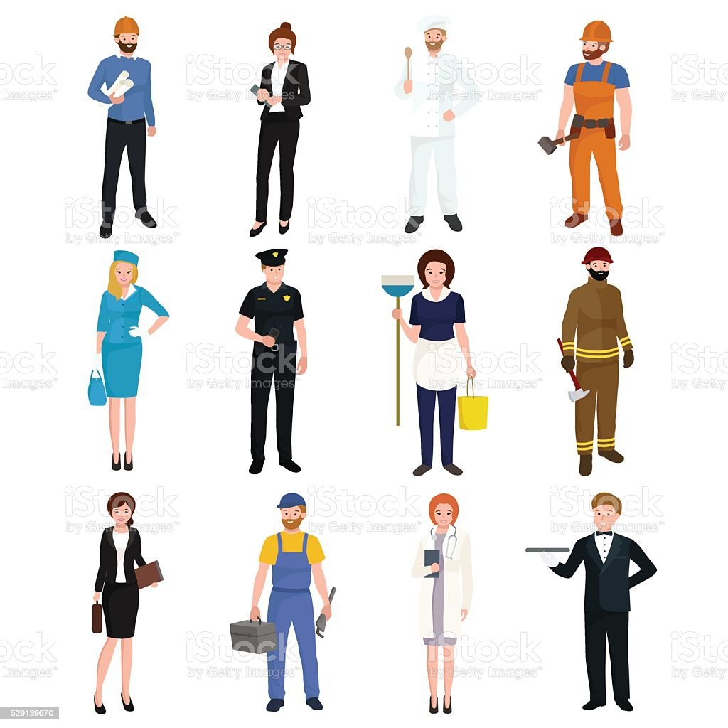 People different profession. Man and woman vector illustration set vector art illustration