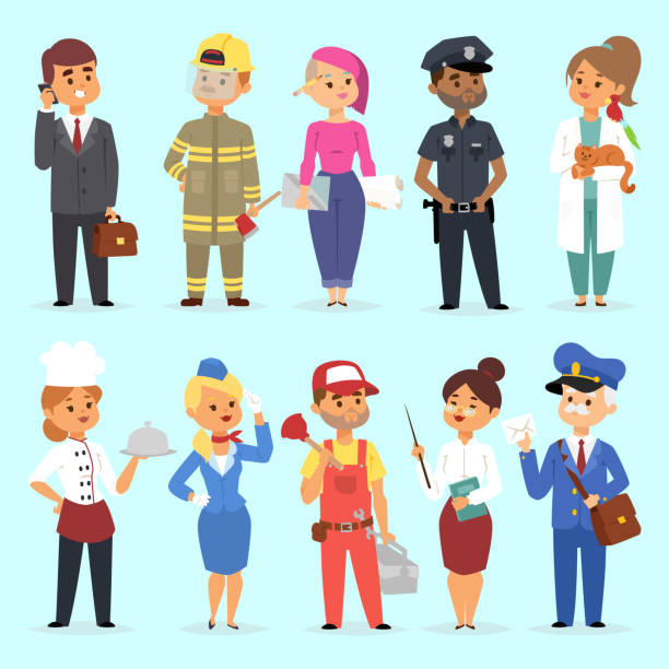People different professions vector illustration. Success teamwork diversity human work lifestyle. Standing successful young professions policeman, doctor, fireman, chef person character in uniform People different professions vector illustration. Success teamwork diversity human work lifestyle. Standing successful young professions policeman, doctor, fireman, chef person character in uniform. cooking clipart stock illustrations