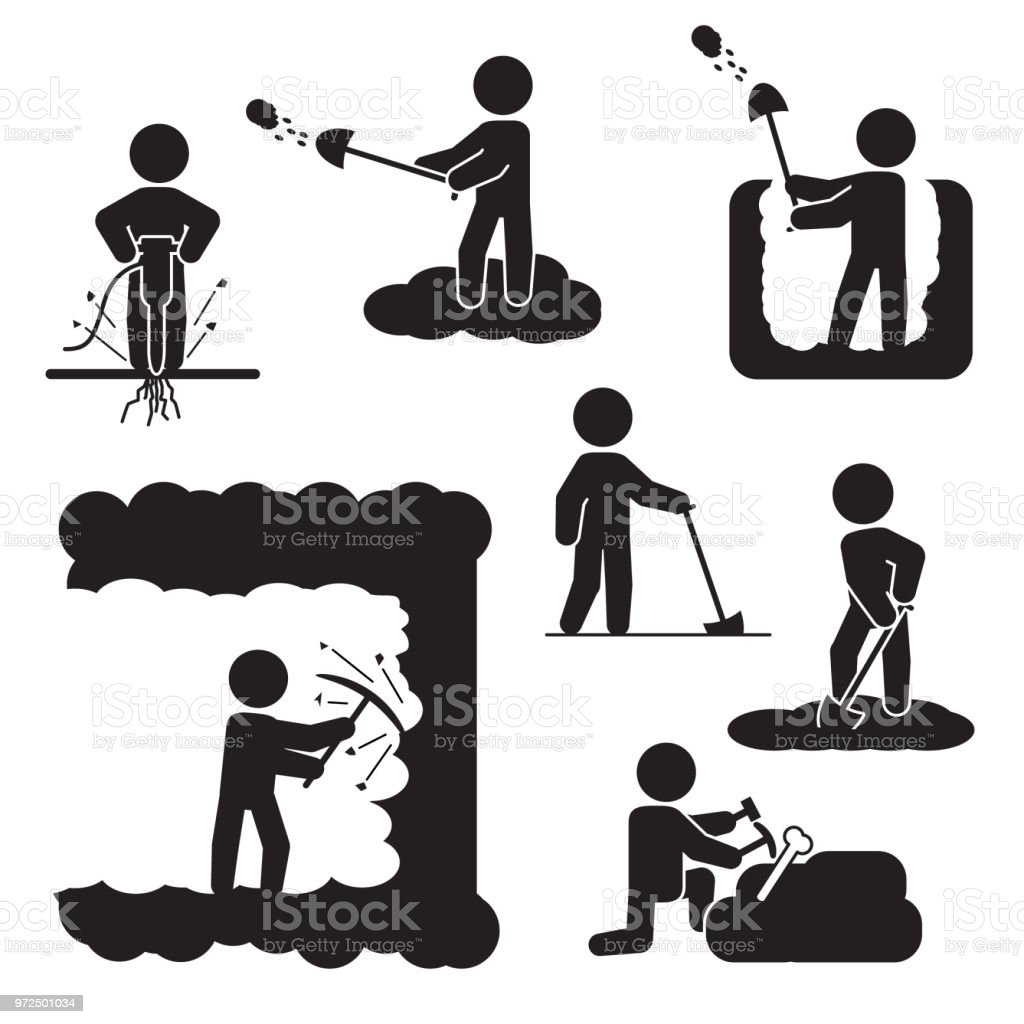 People digging, excavating or drilling icon set. Vector icons. vector art illustration