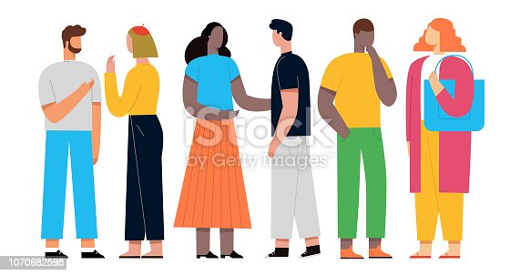 People discuss social network, news, social networks, chat, learning foreign languages. Vector illustration. Flat style.