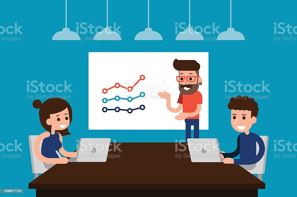 People discussing in the meeting room. vector art illustration