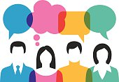Group of People Discussing With Colourful Speech Bubbles. Vector illustration. EPS10, JPEG 4000x3000