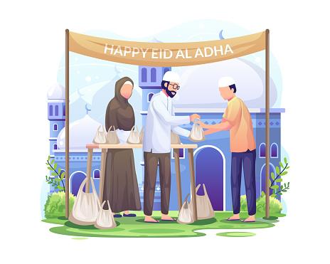 People distribute sacrificial meat on Eid al Adha. Happy Celebrate Eid Al Adha Mubarak. vector illustration