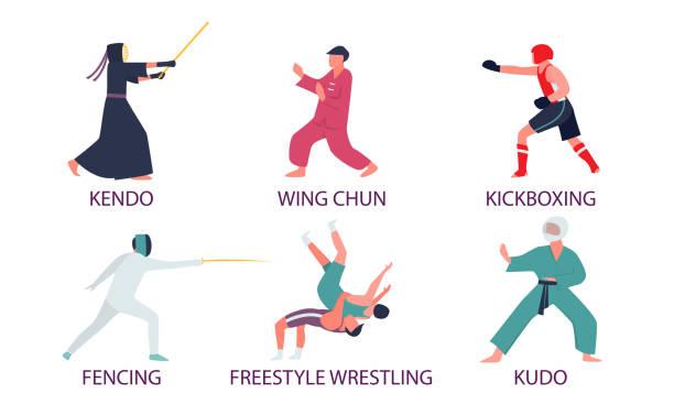 illustrazioni stock, clip art, cartoni animati e icone di tendenza di persone che fanno diversi tipi di illustrazione vettoriale di arti marziali - box name