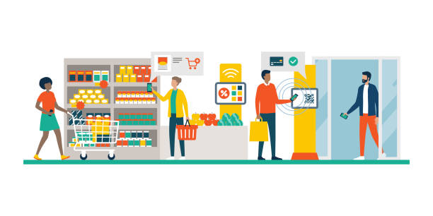 People doing grocery shopping using AR and mobile payments People doing grocery shopping at the supermarket and buying products, they are checking offers using augmented reality apps on their phones and paying with mobile payment grocery aisle stock illustrations