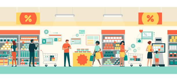 ilustraciones, imágenes clip art, dibujos animados e iconos de stock de gente haciendo compras de comestibles usando aplicaciones de ar - shopping