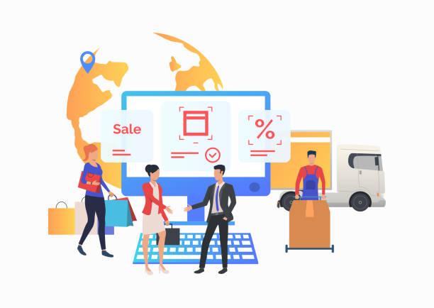 Les gens faisant des achats et travaillant dans le magasin d'Internet - Illustration vectorielle
