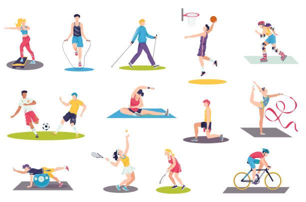 People doing sport exercises vector illustration set, cartoon flat man woman sportsman characters training, sport activity isolated on white vector art illustration