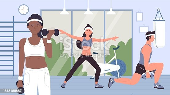 istock People doing sports workout with dumbbells in gym, training with sport equipments 1318188887