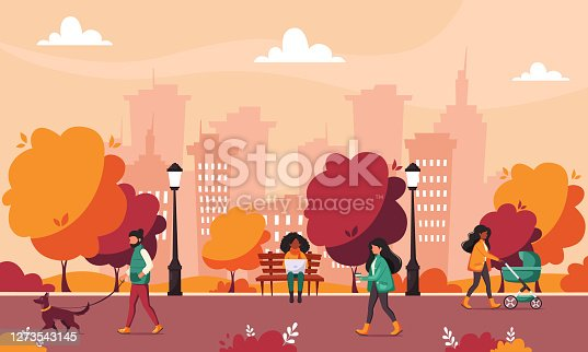 istock People doing various outdoor activities in autumn park. Walking with dog, walking with baby carriage. Autumn activities. 1273543145