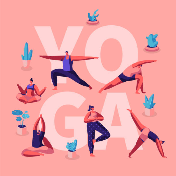 People Doing Yoga Exercises. Fitness Workout in Different Poses Stretching Sport Activities . Healthy Lifestyle, Leisure Concept for Poster Banner Flyer Brochure. Cartoon Flat Vector Illustration People Doing Yoga Exercises. Fitness Workout in Different Poses Stretching Sport Activities . Healthy Lifestyle, Leisure Concept for Poster Banner Flyer Brochure. Cartoon Flat Vector Illustration active lifestyle stock illustrations
