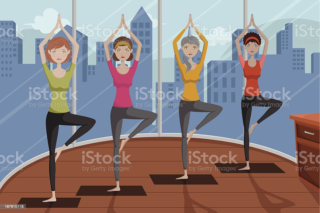People doing yoga in a studio royalty-free stock vector art