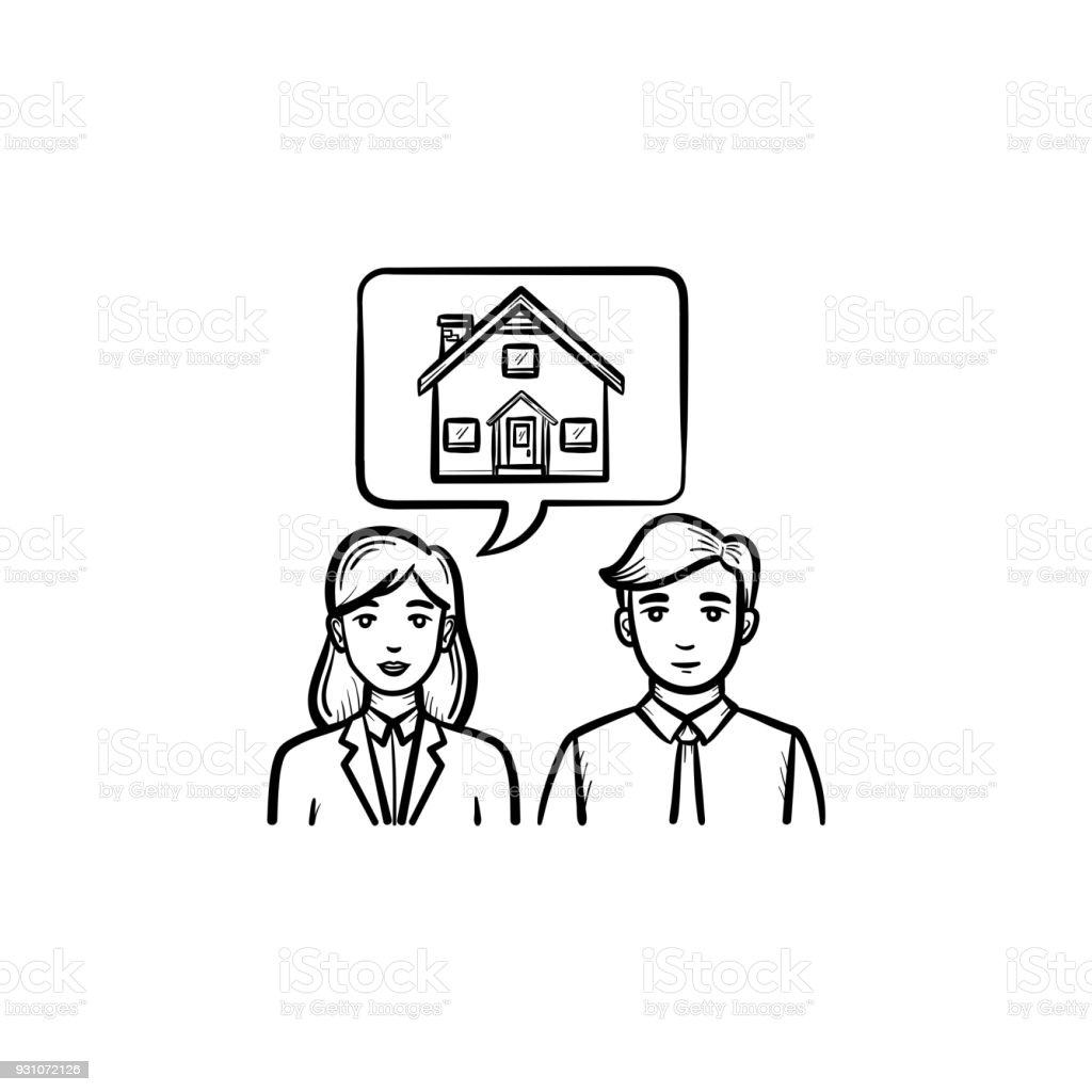 People Dreaming About House Hand Drawn Sketch Icon Royalty Free