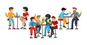 People drink beer. Friends are sitting on high bar stools. Three tables. Two pairs of characters talk. A woman is drinking wine with a man. Group of 4 friends raise a toast. Vector flat illustration.