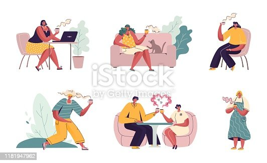 istock People drink coffee. Cartoon characters sitting in cafe, couples friends and people with laptop and phone. Vector coffee scenes 1181947962