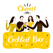 People drinking at the bar. Cocktail bar title.  Cartoon vector illustration for your design.