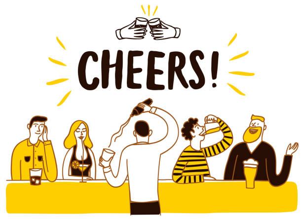 바 일러스트에서 마시는 사람들 - bartender stock illustrations