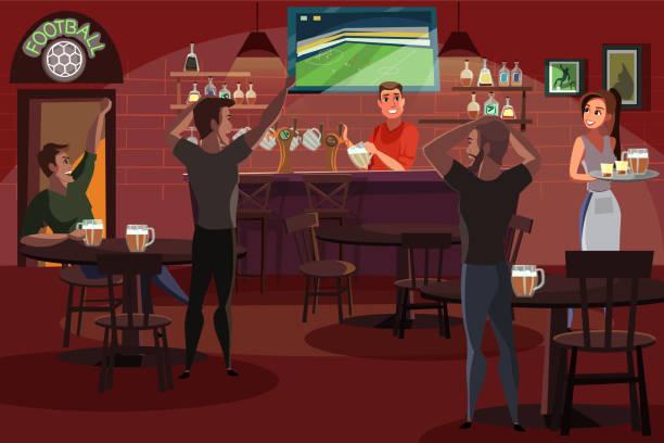 ilustrações de stock, clip art, desenhos animados e ícones de people drinking beer in bar flat illustration - soccer supporter portrait