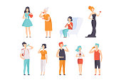 People drinking beverages set, men and women drinking tea, coffee, water, wine, milk vector Illustrations isolated on a white background.