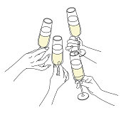 Vector Illustration from people celebrating and drinking champagne. Friends having a toast.