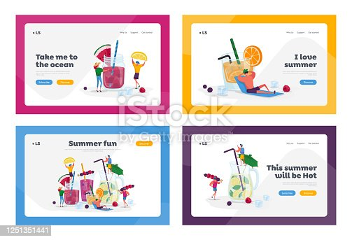 People Drinking Cold Drinks Landing Page Template Set. Tiny Characters Choose Different Beverages at Summer. Huge Glass Cups with Straw, Fruits, Ice Cubes in Juice Water. Cartoon Vector Illustration
