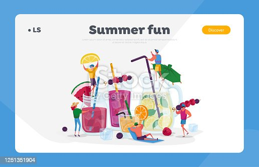 People Drinking Cold Drinks Landing Page Template. Tiny Characters Choose Different Beverages in Summer Time. Huge Glass Cups with Straw, Fruits, Ice Cubes in Juice Water. Cartoon Vector Illustration