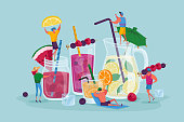 People Drinking Cold Drinks. Tiny Male and Female Characters Choose Different Beverages in Summer Time. Huge Glass Cups with Straw, Fruits, Ice Cubes in Juice Water. Cartoon Vector Illustration