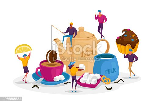 istock People Drinking Tea, Hot Drinks Party. Tiny Male and Female Characters at Huge Teapot, Cup with Beverage and Milk Jug 1266868664