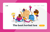People Drinking Tea Landing Page Template. , Hot Drinks Party. Tiny Characters at Huge Teapot, Cup with Beverage and Milk. Woman Hold Lemon Slice, Man with Cookies. Cartoon People Vector Illustration