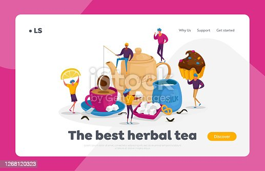 istock People Drinking Tea Landing Page Template. , Hot Drinks Party. Tiny Characters at Huge Teapot Cup with Beverage and Milk 1268120323