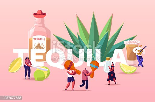 istock People Drinking Tequila Concept. Tiny Characters with Maracas, Salt and Lime at Huge Bottle and Agave Azul Plant Poster 1257077358